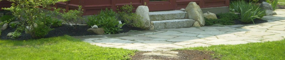 Bluestone Patio with Granite Steps, Baldwin, Maine