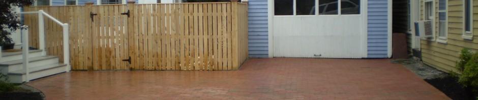 Brick Driveway with Cedar Fence, Portland, Maine