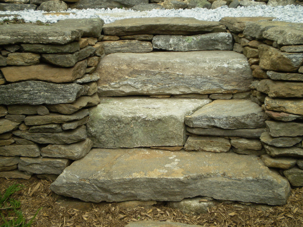 Retaining Wall With Steps Falmouth Maine Perennial Stone