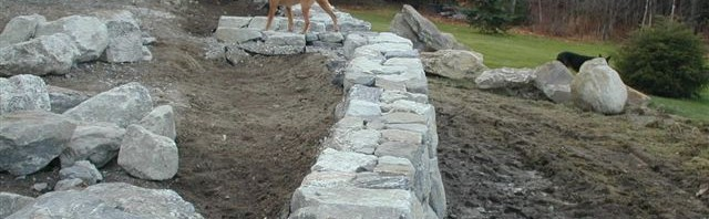 Retaining Wall with Granite Steps, N. Yarmouth, Maine