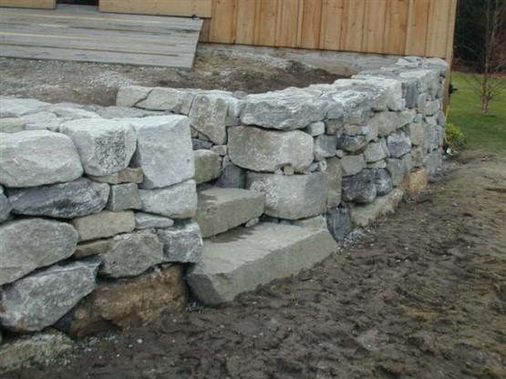 Granite Foundation Blocks : Maine stonework masonry hardscaping perennial stone