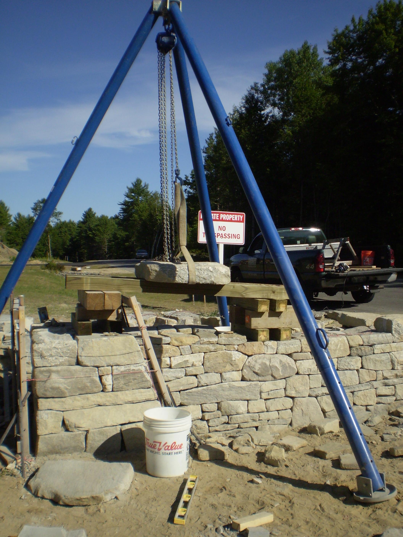 Tripod Crane Hoist : Maine stonework masonry hardscaping perennial stone