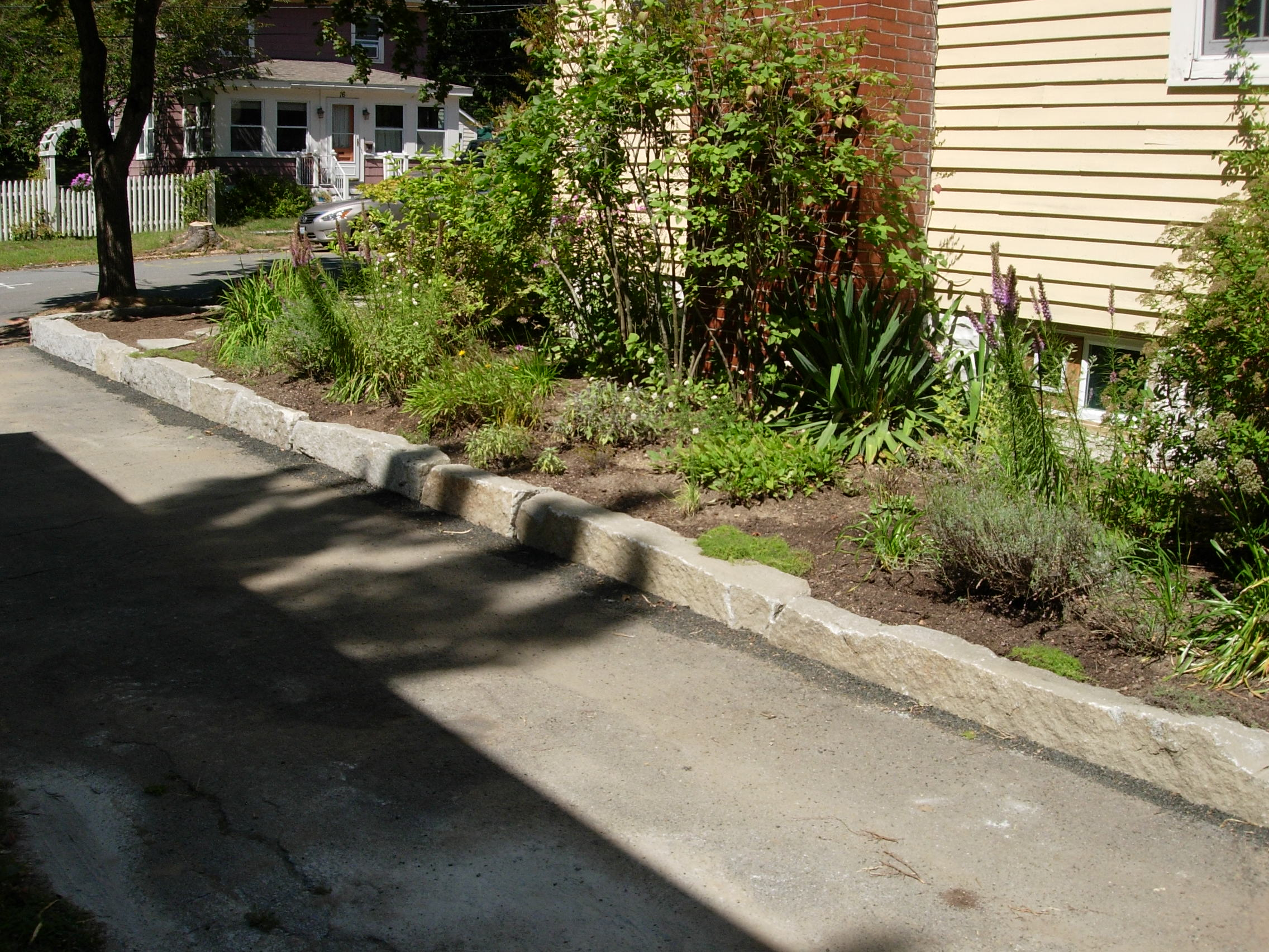 Landscaping Stones Portland Maine : Perennial stone reclaimed granite retaining wall portland maine