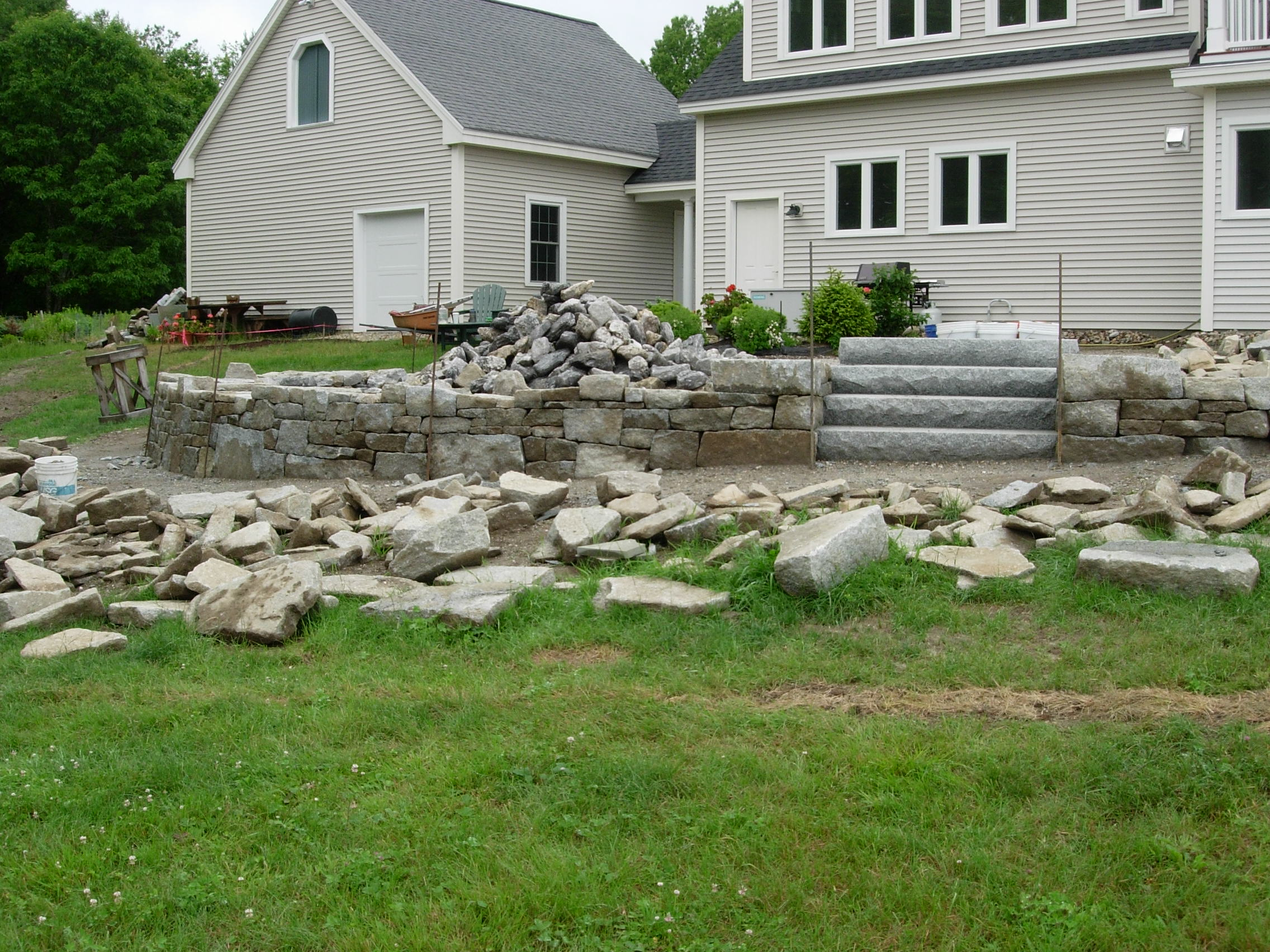 Maine stonework masonry hardscaping perennial stone for Fireplace on raised deck