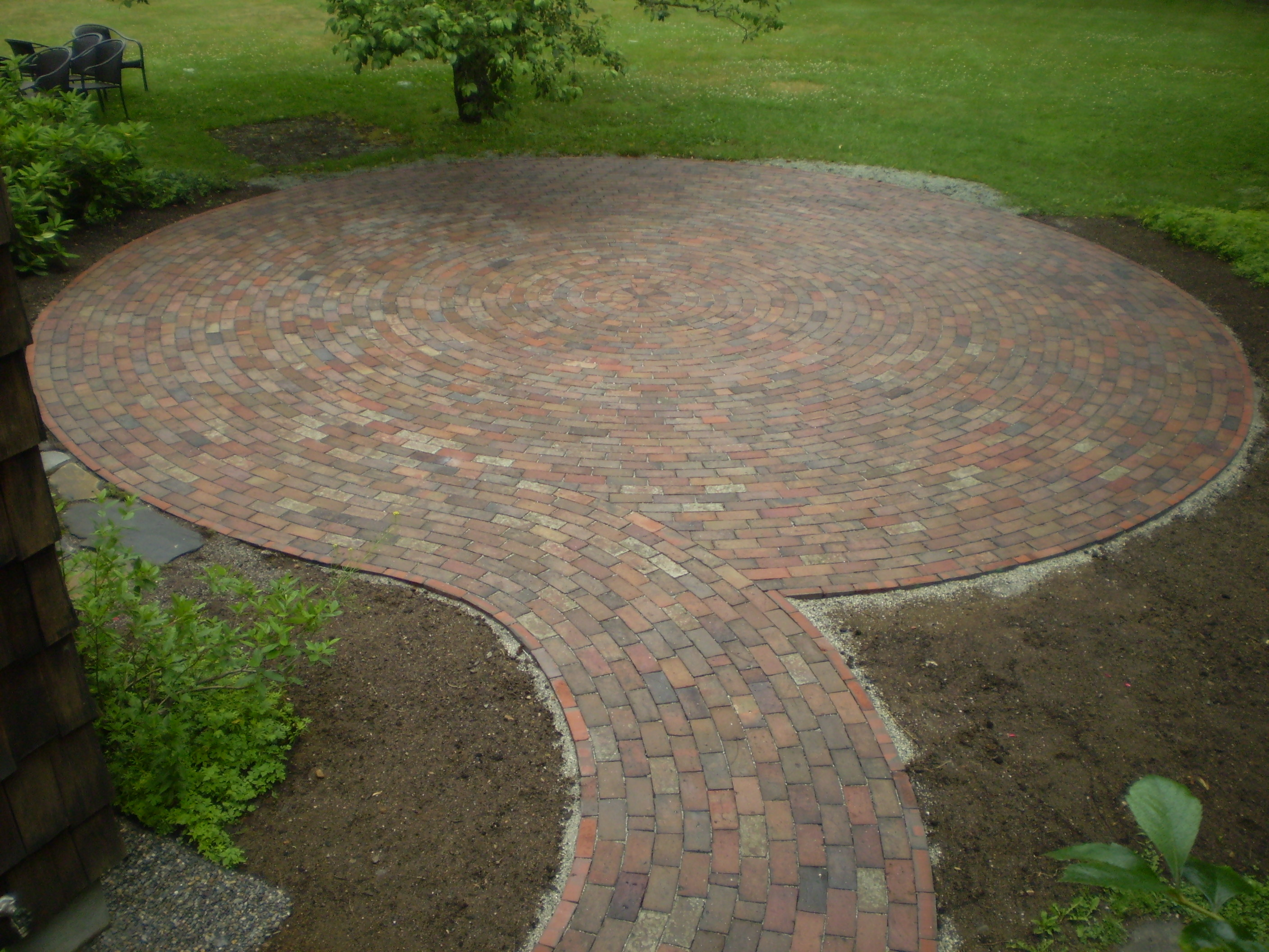 Reclaimed-Brick Patio, Cumberland Foreside, Maine ... on Backyard Brick Pavers id=13995