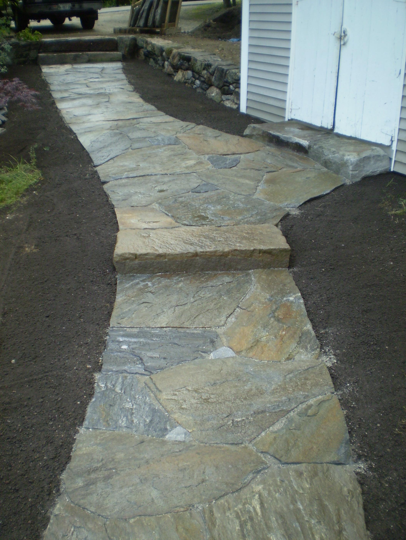 Granite Walkway And Retaining Wall Freeport Maine