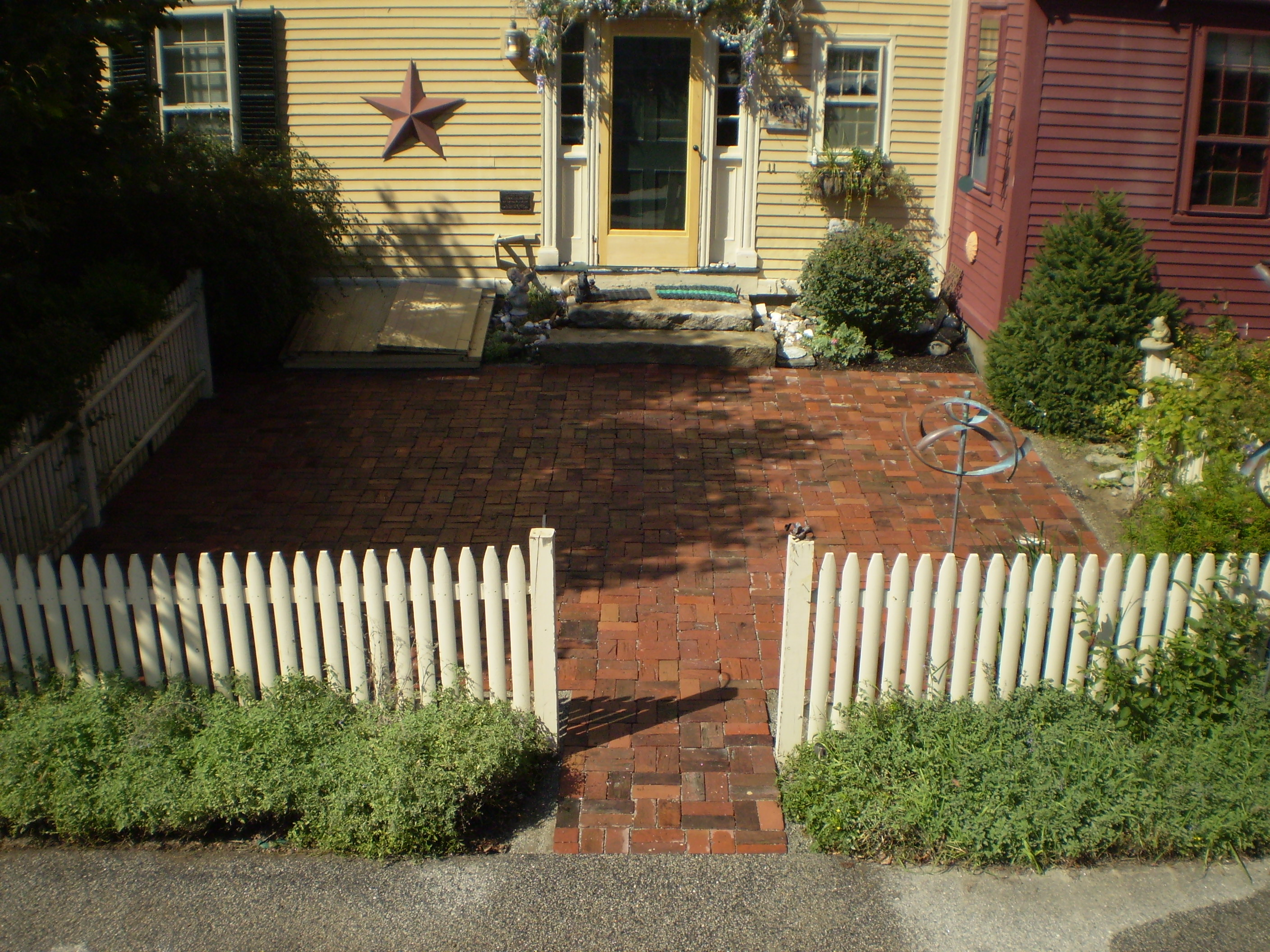 Reclaimed Brick Patio Yarmouth Maine Perennial Stone